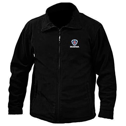 Fleecejacke mit durchgehendem Reißverschluss, Scania-Logo, Stickerei, Arbeitskleidung, Outdoor-Sport (2XL, schwarz)