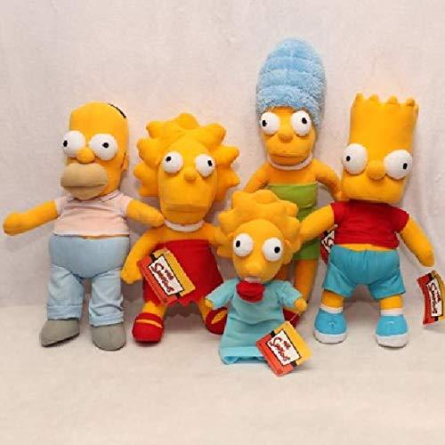 Ksydhwd Peluche 5 Pezzi/Set Nuovi Giocattoli di Peluche della Famiglia Simpsons da 25-42 Cm Bambola Giocattoli di Peluche Morbidi per Bambini Regali di Natale di Compleanno