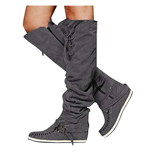Lowest Prices! Women's Knee High Boots Ladies Casual Leather Low-Heeled Wide Calf Bootie Winter Warm...