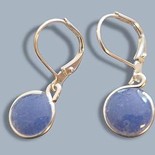 Outie Button Flower Jewelry Handmade Jewelry. Periwinkle Blue Flower Earrings with Silver Earring Posts