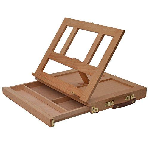 Artina Sitzstaffelei Colmar Tischstaffelei Holz Staffelei im Koffer zum Malen Buchhalter Display Aufbewahrung Malutensilien