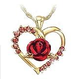 Lilu Jewels - Colgante de Oro Amarillo de 14 Quilates sobre circonita Rosa con Forma de corazón, Regalo de San Valentín para Ella