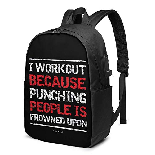 Hdadwy I Workout Because Punching Durable Laptop Travel Backpack College Bookbag with USB Charging Port Fit 17 Inch Laptops Unisex