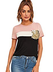 Pink and Black Short Sleeve T-Shirt Top