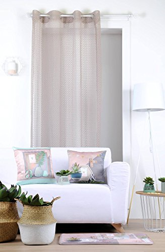 Lovely Casa Homa Voile, Polyester, Beige, 140x260 cm