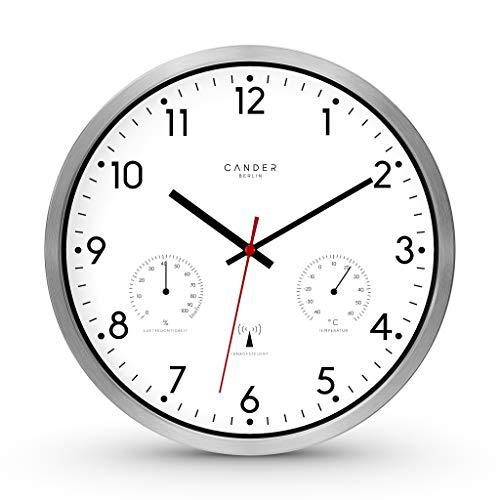 Cander Berlin MNU 3330 - Reloj de Pared controlado por Radio (Aluminio silencioso, con indicador de Temperatura y Humedad, 30,5 cm de diámetro), Color Blanco