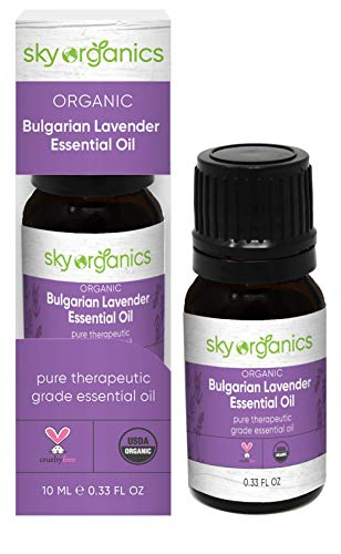 USDA Organic Bulgarian Lavender Essential Oil by Sky Organics (0.33oz) Pure Therapeutic Grade Essential Oil for Diffuser and Aromatherapy