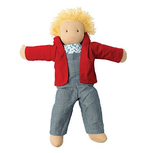Hoppa - Puppe Lou, Stoffpuppe mit Kleidung und Haaren - 40 cm - Kinderspiele ab 18 Monaten