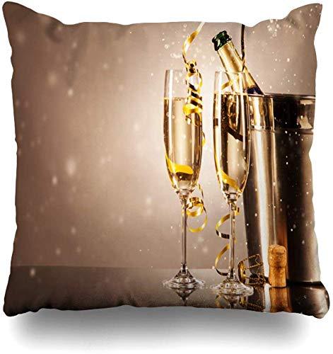 TABUE 18X18inch kussenslopen, bril champagne linten bubbels Celebr dubbelzijdig patroon bank kussensloop bank huis gift bed kussensloop