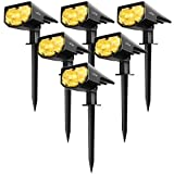 LITOM 12 LEDs Spotlights, IP67 Waterproof Powered Wall 2-in-1 Wireless Outdoor Solar Landscaping Light for Yard Garden Driveway Porch Walkway Pool Patio 6 Pack, Warm White