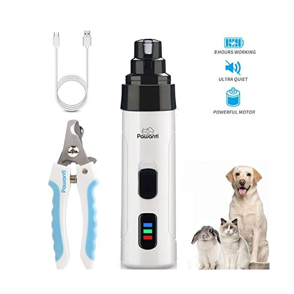 Pawanti Dog Nail Grinder Kit Electric Pet Nail Trimmer Set 2 Speeds Rechargeable Cat Paw Clippers Portable Painless Paws Grooming Smoothing for Small Medium Pets Dogs Cats