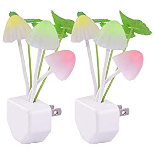 2 Pack Sensor LED Night Lights, Color Changing Plug-in Led Mushroom Dream Bed Lamp for Kids Children Adults, Dusk to Dawn Sensor Auto On/Off, Funny Wall Decor Gifts for Nursery Baby Bed Flower Lamp