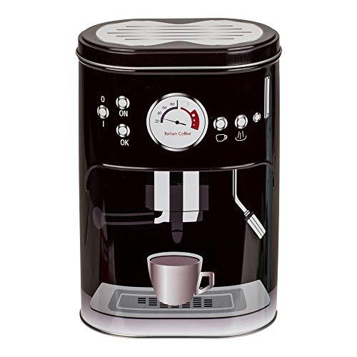 Tarro para café con diseño de máquina espresso,para monodosis, café en polvo, cacao o azúcar, Negro\r\n, tamaño
