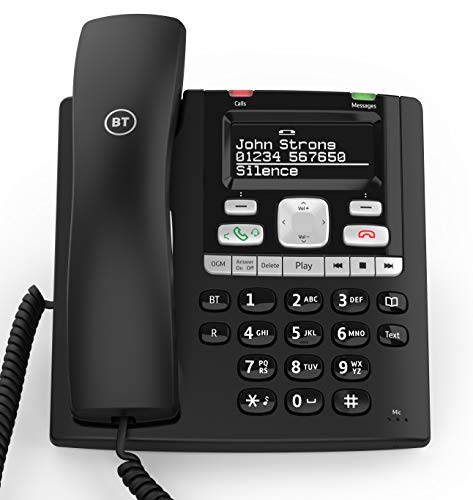 BT Paragon 650 Corded Phone with Answering Machine, Black