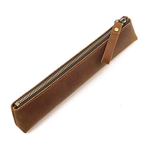 YLLAND Funda de lápiz de Cuero Genuino - Caja de Pluma con Cremallera Bolsa de papelería Bolsa de lápiz de la Bolsa de la Cremallera (Color: marrón, tamaño: 20x2.5x4cm) LNNDE