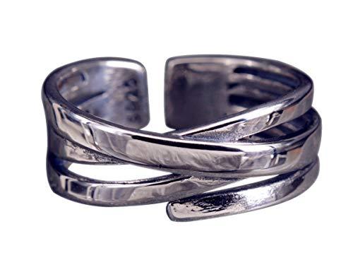 NicoWerk Damen Silberring Wickelring aus 925 Sterling Silber Durchgebrochen Breit Glatt Schlicht Verstellbar Offen SRI427