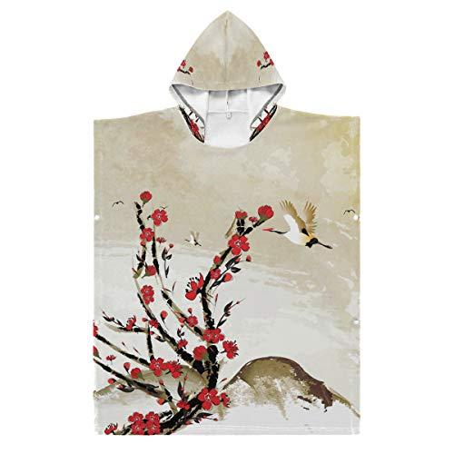 LENNEL Niños Suave 35.43x27.55 Pulgadas Bata de baño de algodón Capa Duradera Flores de Cerezo japonés y grúa Aves para Piscina Parque de Aguas Termales Toalla de Playa con Capucha