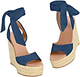 Fashare Womens Open Toe Tie Lace Up Espadrille Platform Wedges Sandals Ankle Strap Slingback Dress Shoes (Navy, Numeric_10)