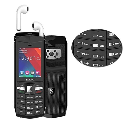 LSHG A2 SERVO R26 TWS Teléfono móvil con Bluetooth, teclado inglés, batería de 3000mAh, 2.4 pulgadas, 23 teclas, soporte Bluetooth, FM, linterna, MP3 / MP4, GSM, SIM dual, con auriculares Bluetooth TW