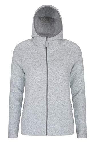 Mountain Warehouse Nevis Fleecejacke für Damen mit Reißverschluss – leichtes Sweatshirt für den Frühling, mit Taschen, atmungsaktiv – zum Spazierengehen, Reisen, Winter Grau 42