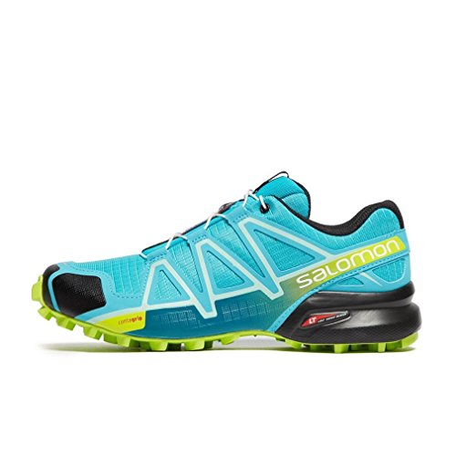 Salomon Women's Speedcross 4 W Trail Running Shoe, bluebird/acid lime/black, 5 B US