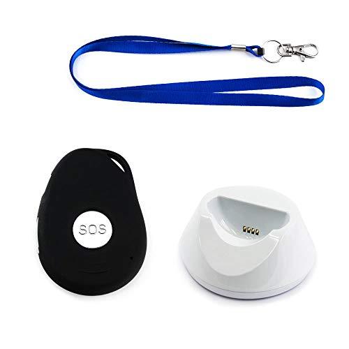 AMG Sicherheitstechnik Notrufknopf mit GPS-Sender und SIM Karte für Senioren | sicher Zuhause und unterwegs | mit Halsband und Ladestation | spritzwassergeschützt