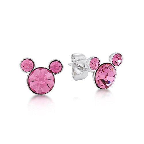 Couture Kingdom - Pendientes de piedra de nacimiento con diseño de Mickey Mouse de cristal Swarovski rosa de octubre de Disney