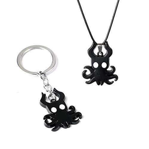 SGOT Hollow Knight Schlüsselanhänger, Game Keychain, Metall Anhänger Halskette( Keychain+Halskette 01)