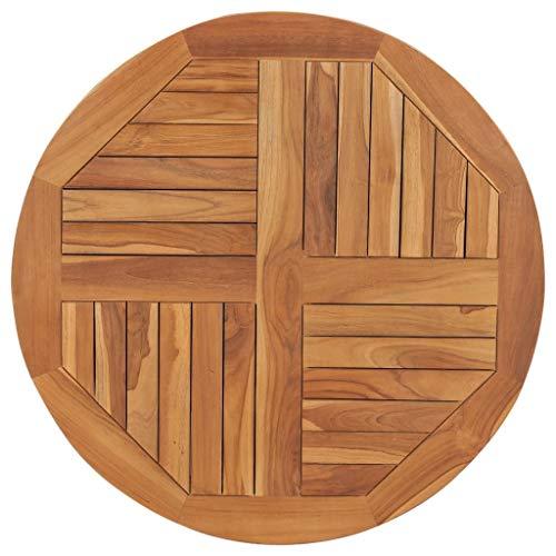 vidaXL Teak Massiv Tischplatte Massivholzplatte Holzplatte Ersatztischplatte Holz Platte für Esstisch Esszimmertisch Rund 2,5cm 80cm