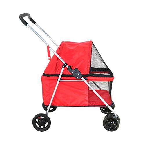 Ryan kinderwagen voor honden, bolderkar, voor outdoor-activiteiten, opvouwbaar, winddicht, draagbaar en ademend voor op reis, Rood