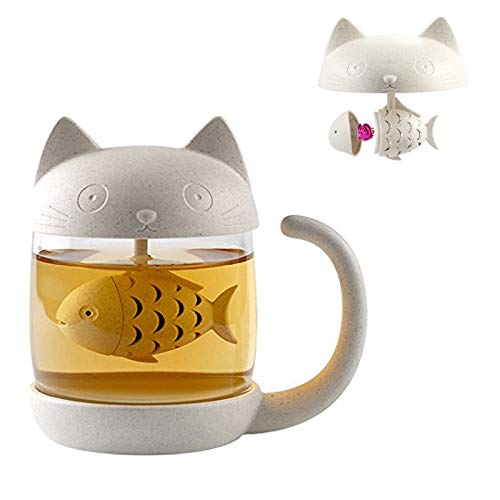 Taza de té de cristal del gato Taza De Agua Bottle-With Fish Tea Filtro filtro de infusión 250ml (8oz) (Blanco)