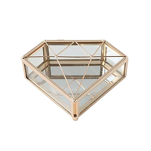 Joyero Caja De Joyería De Cristal De Oro Caja De Joyería De Metal Transparente Tinkle Joyería Organizador Caja De Organizador para El Regalo de joyería (Color : Diamond Shaped)