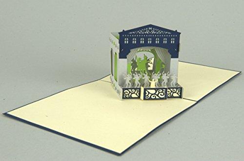 Theater 3-D Pop Up Grußkarte Geburtstag Gutschein Musical Handmade 15x15cm