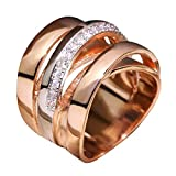Newdiva Intertwined Crossover Statement Ring Fashion Chunky Cocktail Big Ring Wide Bands Ring for Women Men Wide Index Finger Rings Costume Jewelry Size 6-10 (8)