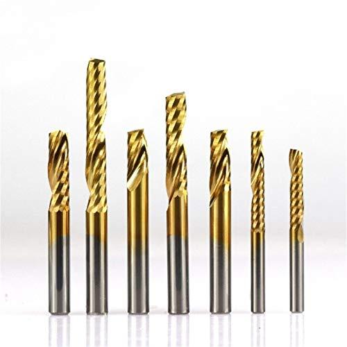 SHENYF 1pc 6mm Mango de Metal Duro Espiral Molino de Extremo de Titanio de una Cara de la Flauta Fresa 1 Flute CNC pedacito del Grabado de Molino de Extremo Lo más confiable (Size : 1pc 6x25x60mm)