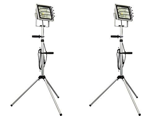 Set van 2 LED-schijnwerpers 50W met statief/bouwlamp, 3000 lm, IP65, aluminium zilver