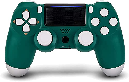 YU33 Alpine Green Wireless Controller Compatible with P - 4 system with 1 Pack Cables and 2 Rainbow Caps with Two Mortors/Touch pad/Stereo Headset Jack(2021,New Joystick)