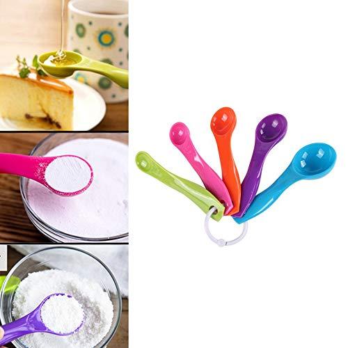 HOBFUUK - Set di 5 misurini da Cucina in plastica Colorata, con cucchiai Colorati