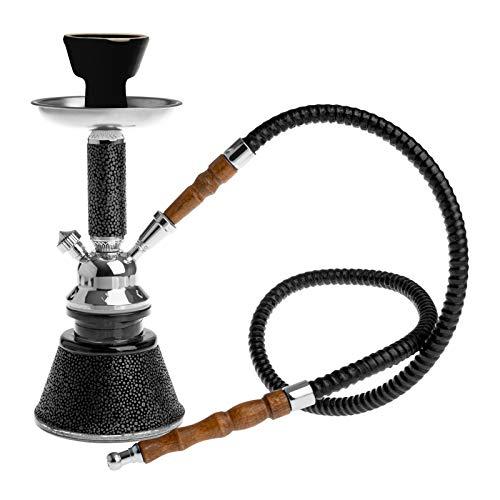 HIBRON ® Cachimba 26cm Narguile Cristial Shisha Hookah Pipa de Agua Diseño Mosaico Waterpipe (Negro, 1 Manguera)