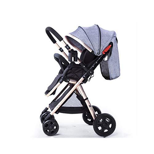 Kiter Cochecito de bebé Cochecito ligero sistema de viaje elegante multifuncional gran tamaño cesta de almacenamiento compacto convertible Cochecito de lujo rosa (color: gris)