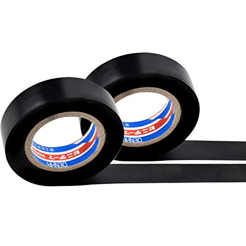 Isolierband 66mm x 18mm, 2 Stück Vinyl Elektro-Isolierband, Schwarze PVC Dichtband Klebeband