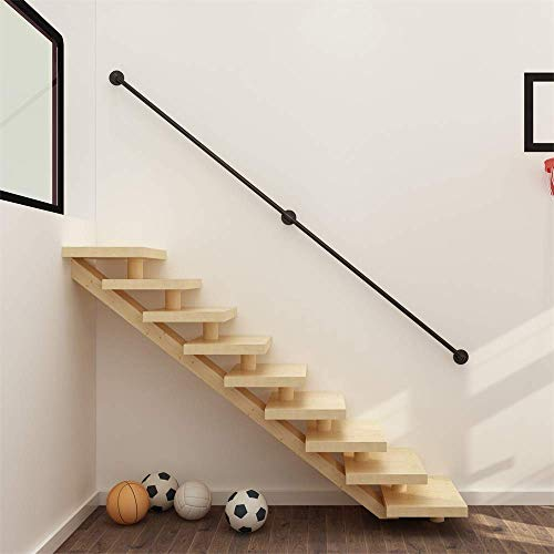 1FT-20FT Handrail Complete Kit Black Industrial Wind Wrought Iron Pipe Elderly Stairs Handrail, Home Indoor Corridor Attic Wall Old Man Anti-Skid Pipe Handrail Fence 7ft