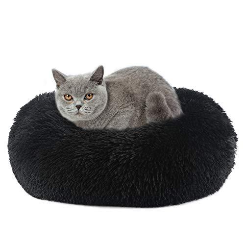 Vanansa Hundebett für Hunde und Katzen, Rundes Katzenbett Donut Plüsches Bett für Süßen Schlaf für Ihre Kleine Tiere Schwarz 50cm
