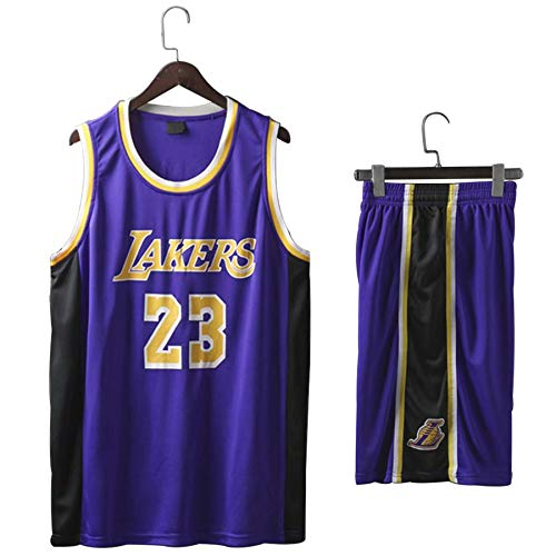 QJJ Trajes De Camiseta De Baloncesto Lebron James: Camiseta De Los Lakers 23# (Camiseta + Pantalones Cortos) Conjunto De Camiseta Deportiva De Uniforme De Baloncesto De Purple-XXXXXL