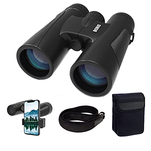 Borio 12x42 Roof Prism Binoculars for Adults with Universal Phone Adapter, HD Professional Binoculars for Bird Watching Travel Stargazing Hunting Concerts Sports (12x42 Binoculars with Phone Adapter,)