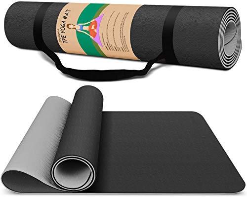 Yogamatte rutschfest, 8mm dick, umweltfreundliche Sportmatte aus TPE, super weiche Fitnessmatte mit Tragegurt&Tasche, Schwarz&Grau
