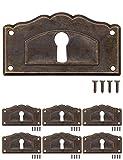 FUXXER® - 6 placas de llave antiguas, rosetas de cerradura, herrajes para cerradura, agujero para llave, latón vintage, bronce, estilo modernista, diseño Art Deco, 6 unidades, 63 x 34 mm.