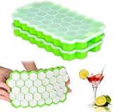 Ice Cube Trays 2 Pack, Morfone Silicone Ice Tray with Removable Lid Easy-Release Flexible Ice Cube...