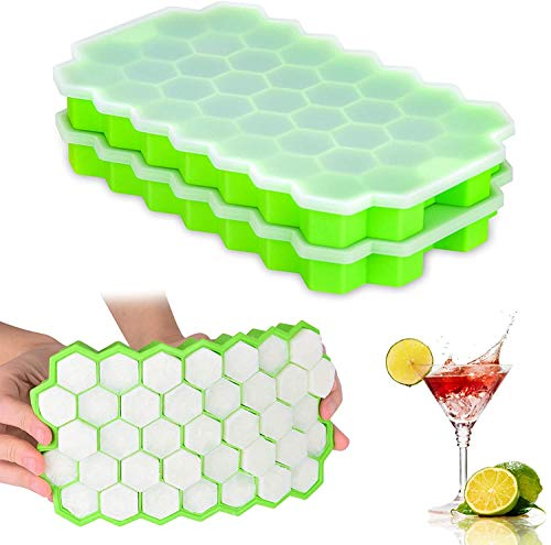 Ice Cube Trays 2 Pack, Morfone Silicone Ice Tray with Removable Lid Easy-Release Flexible Ice Cube Molds 37 Cubes per Tray for Cocktail, Whiskey, Baby...