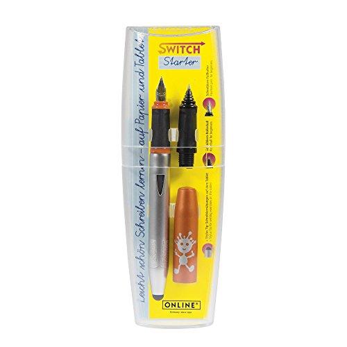 ONLINE Schreiblern-Füller Switch Starter Orange im Set, mit stabiler Iridium-Feder A (Anfänger),Tintenpatronen-Rollerball Griffstück und Stylus Tip